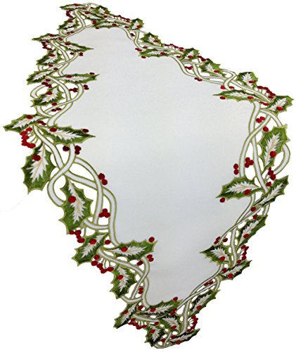 - Xia Home Fashions Holiday Holly Embroidered Cutwork Christmas Table Runner, 16 by 34-Inch, White