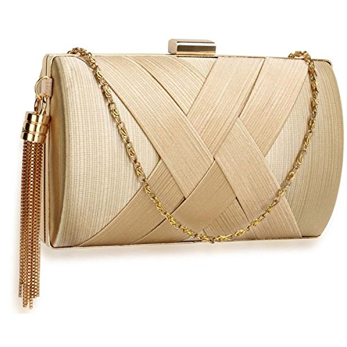 L And S Handbags Hard Case Tassel Clutch With Chain - Cartera de mano para mujer color carne
