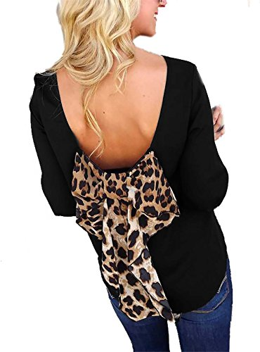 Bow Shift (SHOPGLAMLA Bow Back Shift Solid Chiffon Bishop 3/4 Sleeves Scoop Neck Top Blouse Made In USA Leopard Black S)