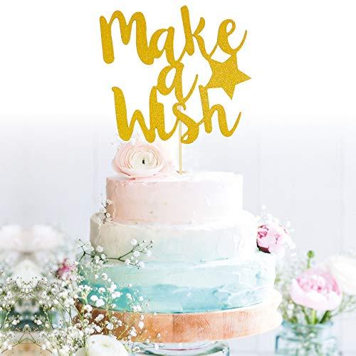 Starsgarden Gold Glitter Make a Wish Cake Topper - Baby Shower Anniversary Wedding Birthday Party Decoration Sign
