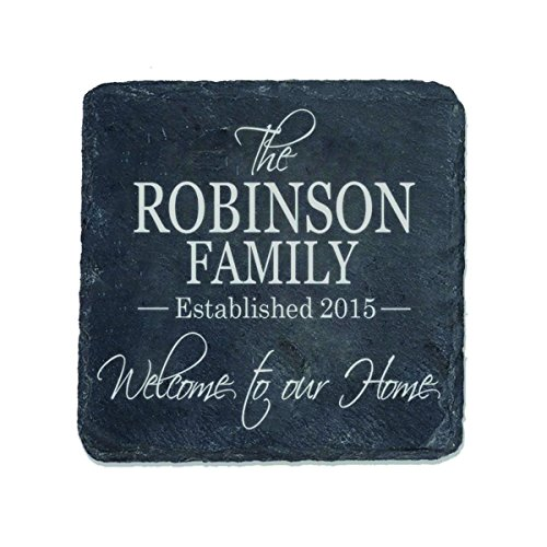 Personalized Slate Bar Drink Coaster Set 4 pc custom Welcome to Our Home Family established last Name and year Gift for Parents Anniversary 4