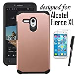 Alcatel One Touch Fierce XL Case, LUXCA [Shock-proof] Hybrid Dual Layer [Slim Fit] Defender Protective Case Cover for Alcatel One Touch Fierce XL (Rose Gold)