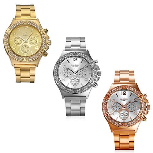 Lancardo Iced Out Watch Costume Luxury Bling Double Daul Rhinestone Bezel Silver Tone Watch (3Pcs)
