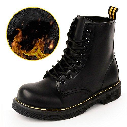 Cystyle Damen Stiefeletten Kunstleder Warm Gefütterte Stiefel Zipper  Outdoor Schuhe Camouflage Schwarz-Samt