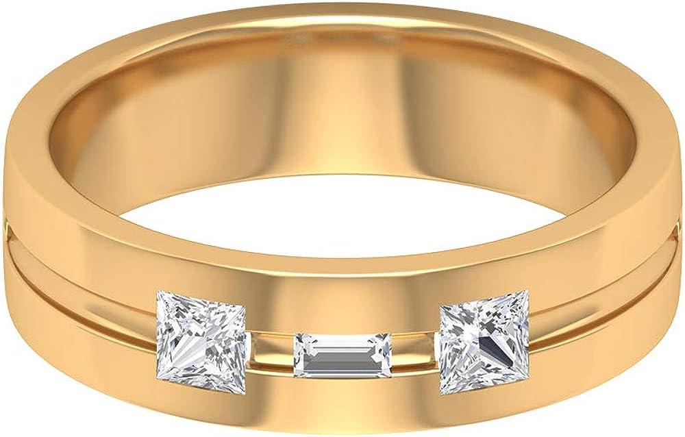 Anillo de compromiso con diamantes de talla princesa de 0,45 quilates con certificado SGL, anillo de eternidad para hombres, anillo de diamantes en forma de baguette, 14K Oro