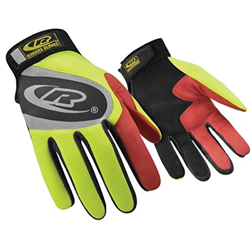 Ringers Gloves R-138 Turbo Plus - HiVis, Essential Hand Protection, Velcro Secure Cuff Closure, Large