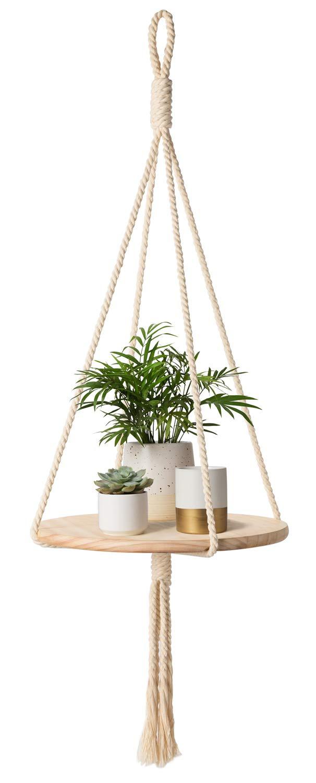 Mkono Wood Hanging Shelf Indoor Macrame Plant Hanger Decorative Flower Pot Holder Boho Home Decor