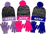 Girls Meow Knit Cuffed Beanie with Over Sized Pom & Gloves Set 3 Great Colors (Neon Blue)