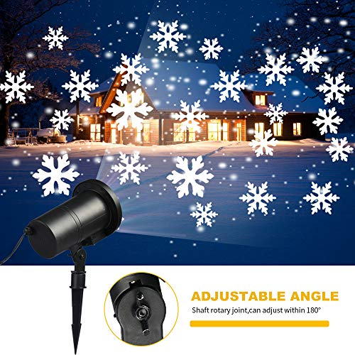 Christmas Projector Light, VTECHOLOGY Christmas Snowflake Projector Light Outdoor Decoration for Landscape Garden Halloween Thanksgiving Christmas Party]()