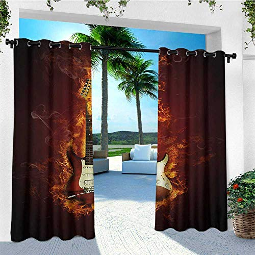 (leinuoyi Guitar, Outdoor Curtain of Lights, Electric Guitar in Flames Burning Fire Hardrock Musical Creativity Concept, Set for Patio Waterproof W84 x L96 Inch Maroon Orange Black )