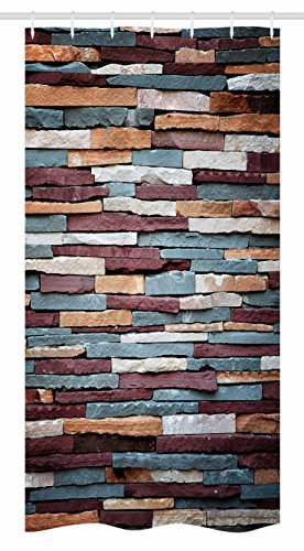 Urban Stall Shower Curtain by Ambesonne, Colored Stone Surface Texture Background Retro Style Urban Brick Wall Image, Fabric Bathroom Decor Set with Hooks, 36 W x 72 L Inches, Mauve Teal Ivory (Colored Brick Curtains)