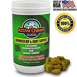 Premium Hip & Joint Dog Treats By Active Chews - Glucosamine For Dogs, Chondroitin Msm & Turmeric For Dogs - Extra Strength Supplement With Arthritis Pain Relief For Dogs