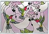Contemporary Hummingbird Fuchsia Horizontal Art Glass Panel 14 x 20