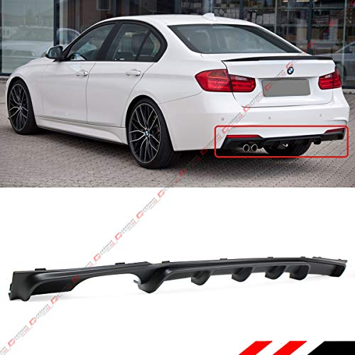 Fits for 2012-2018 BMW 3 Series F30 F31 325i 328i 330i M Sport MP Style Black Dual Twin Left Exhaust Rear Bumper Diffuser (Best Exhaust For Bmw 435i)