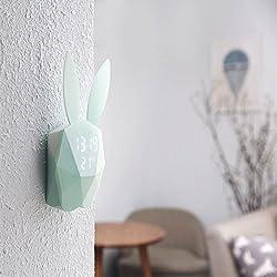 Animal Digital Temperature Alarm Clock Cute Voice Control Sound Light USB Digital Clock Fresh Clock Rabbit Clock for Baby Girls Bedroom Living Room