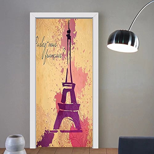 Gzhihine custom made 3d door stickers Eiffel Tower Decor Paris Symbols Travel In Paris Honeymoon Flowers Romance Hot Air Balloon Bike Decor For Room Decor 30x79 by Gzhihine