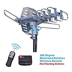 Will Brands 150+ Miles Range Outdoor Amplified Digital TV Antenna- 4K High Reception 40FT Coaxial Cable -Motorized 360 Degree Rotation Wireless Remote Control with Snap On Installation Support 2 TV