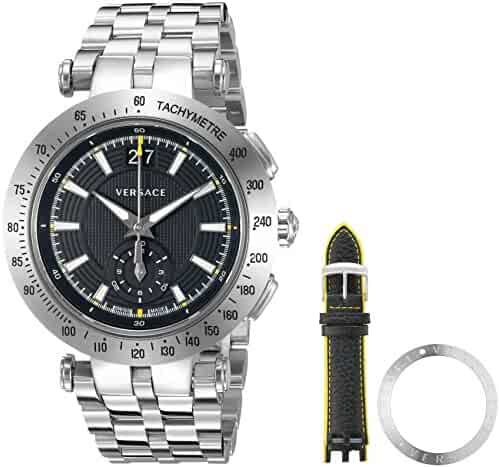 5cadd32ac Versace Men's 'V-Race' Swiss Quartz Stainless Steel Casual Watch, Color: