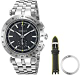 Versace Men's 'V-Race' Swiss Quartz Stainless Steel Casual Watch, Color:Silver-Toned (Model: VAH010016)