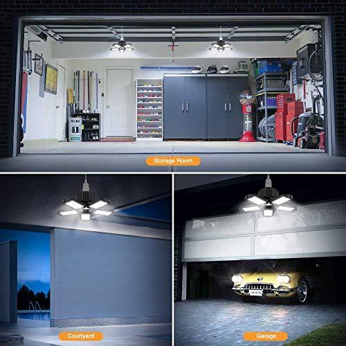 LED Garage Lights 2 Pack, ISKYDRAW 100W E26/E27 Deformable LED Garage Ceiling Lights, 10000LM Garage Lighting with 5 Adjustable Panels,LED Shop Lights for Garage, Warehouse, Workshop, Basement, Barn