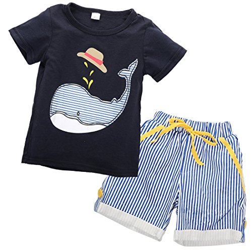 Short Sailor Navy Anchor (Magical Baby Little Boys Sailor Anchor & Sharks Print T-Shirt and Striped Shorts Outfit (3T, Navy Blue))