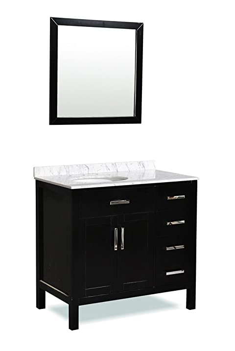 Belmont Decor ST10D4 36 BLK Ashland Bathroom Vanity 36u0026quot; Inch In Black  With