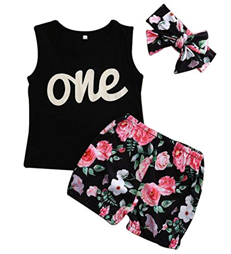 EGELEXY Summer Style Baby Girl Letter One T-Shirt and Floral Short Pants Set Size 6-12 Months/Tag80 (Black) - Style Letters