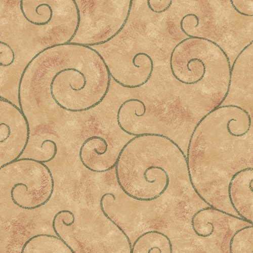Decorate By Color BC1581540 Brown and Green Scroll Wallpaper - Green Scroll Wallpaper