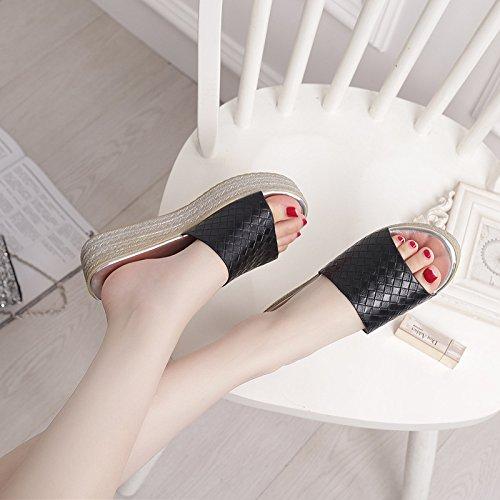 42 pendenza Donna 42 pantofole spessa spagna Alla Sandali Da scarpe di nero 5cm Moda Pan AJUNR con aqHFRx