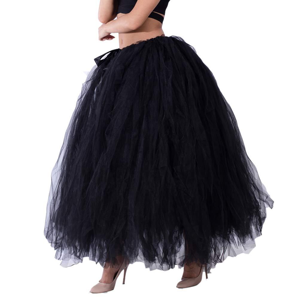 Dorchid Women Puffy Tutu Tulle Skirt Crinoline for Dance Maxi Plus Size Black by Dorchid