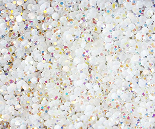 "100% Custom Made (5mm) 1000 Bulk Pieces of Mini Size ""Glue-On"" Flatback Embellishments for Decorating, Made of Acrylic Resin w/ Shiny Iridescent Crafting Rhinestone Crystal Iced Diamond Style {White} by mySimple Products"