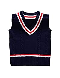 Baby Boys Toddler V-Neck Solid Color Cable Knit Pullover Sweater Vest