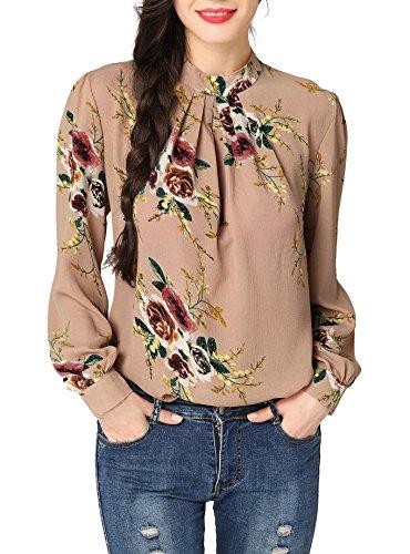 Chemise Floral Mousseline Haut Tops Chemisier Femme Chic Casual Tee Longue Vintage Col Montant Imprimé Blouse Fleur En Shirt Manche t4qT7w7Y