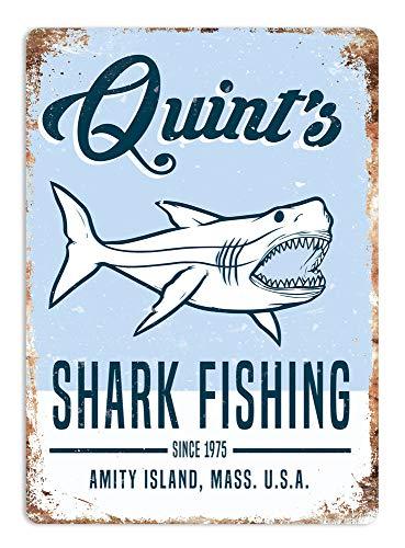 Quint's Shark Fishing Metal Wall Sign Plaque Art Jaws 80s Movie Poster Summer Decor Novelty Art Sign Funny Aluminum Metal Tin Signs