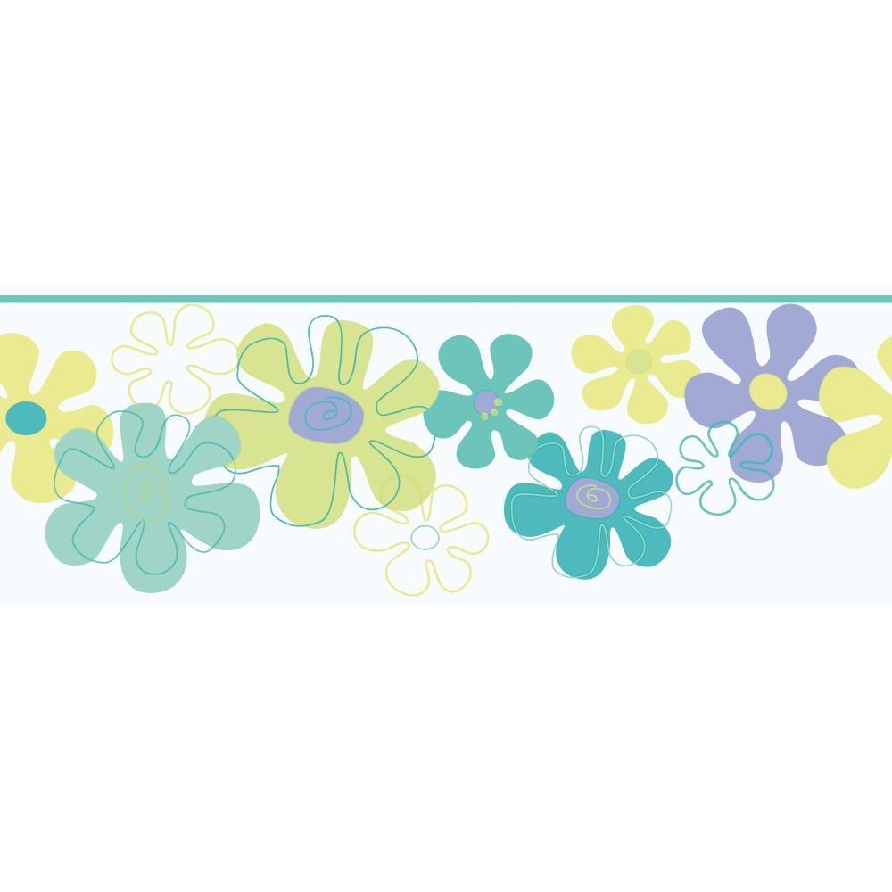 York Wallcoverings YK0146BSMP York Kids IV Flower Power 8-Inch x 10-Inch Memo Sample Wallpaper-Borders, Purple/Green/Blue