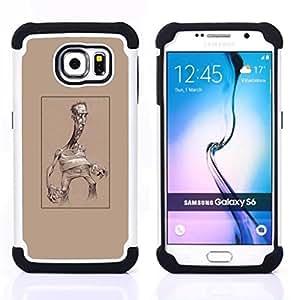 """Samsung Galaxy S6 / SM-G920 - 3 en 1 impreso colorido de Altas Prestaciones PC Funda chaqueta Negro cubierta gel silicona suave (Caricatura de Brown Hombre arte cartelista"""")"""
