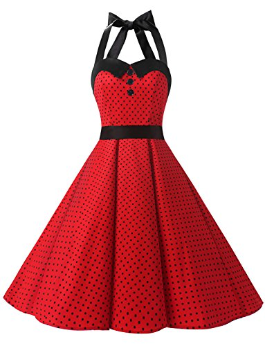Dressystar Vintage Polka Dot Retro Cocktail Prom Dresses 50's 60's Rockabilly Bandage Red B -
