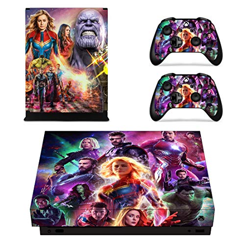 Decal Moments Xbox One X Console Controllers Skin Set Vinyl Skin Sticker Decals Cover for Xbox One X(XB1 X) Console Avengers (Avenger Controller Xbox)