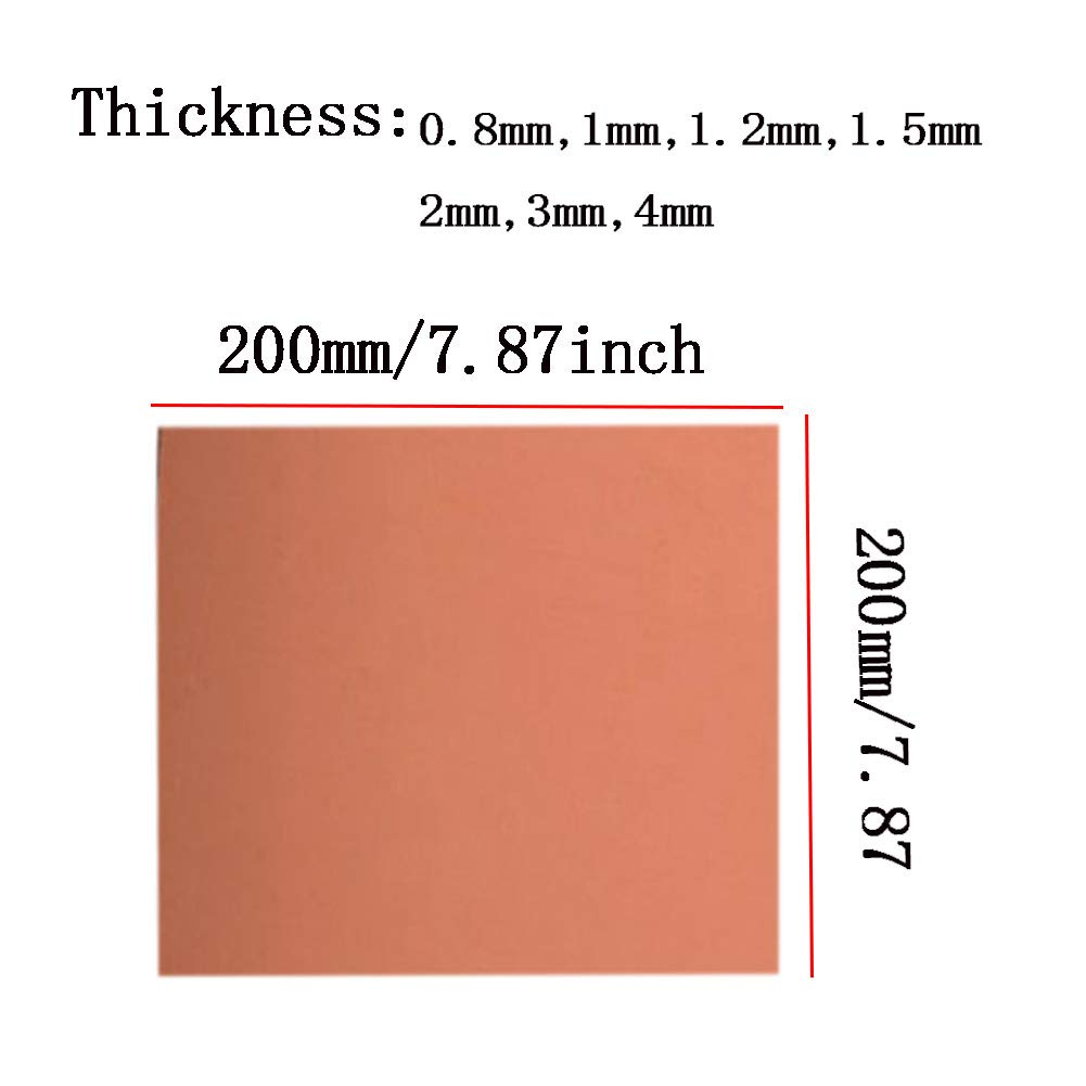 0.8 mm SOFIALXC Pure Copper Cu Metal Sheet 200mmx200mm-Thickness