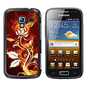 Qstar Arte & diseño plástico duro Fundas Cover Cubre Hard Case Cover para Samsung Galaxy Ace 2 I8160 / Ace2 II XS7560M ( Rose Flower Magical Fire Art Nature Plant)