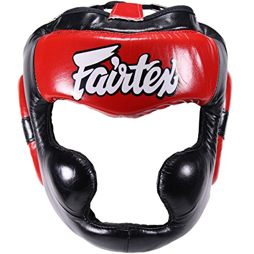 Fairtex HG13L Headguard with Lace - Black-Red - Large