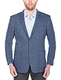 "<span class=""a-offscreen"">[Sponsored]</span>Men's Herringbone Classic Fit 100% Wool Blazer Navy and Light Blue Wide Jacket"
