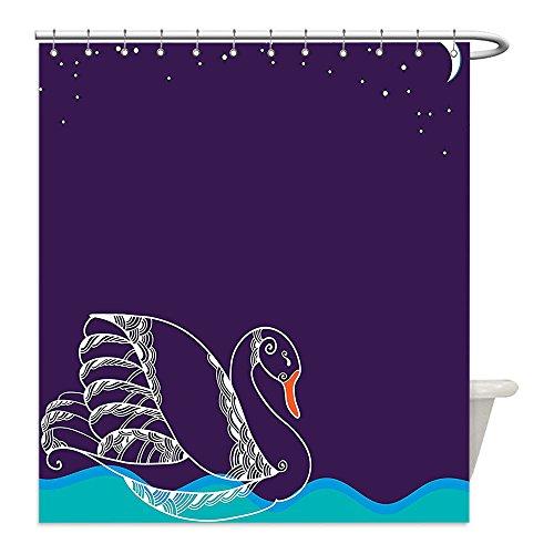 Swan Lake Costume Diy (Liguo88 Custom Waterproof Bathroom Shower Curtain Polyester Animal Decor Silhouette of Big Winged Swan Floating on Waves in Lake on Dark Starry Night Graphic Art Decor Purple Teal Decorative bathro)