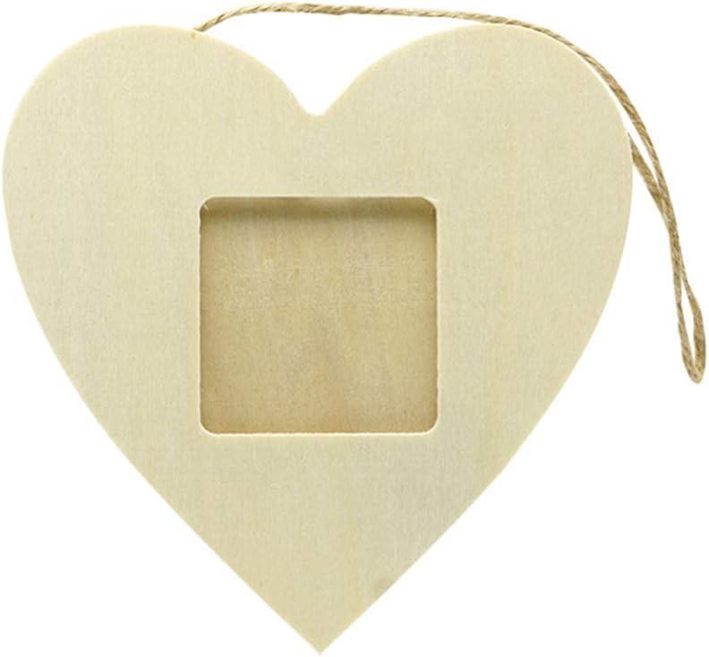 Healifty 10 marcos de fotos de madera con forma de corazón recortados de madera sin terminar adornos para colgar marcos de fotos para manualidades y pintura