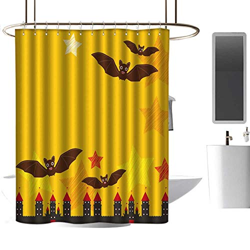 Hotel Style Shower Curtain Halloween Card Banner Design for Text with Castle Pumpkin Stars Bats Night Sky Black Yellow Orange red Background Vector boy Shower Curtain W72 x -