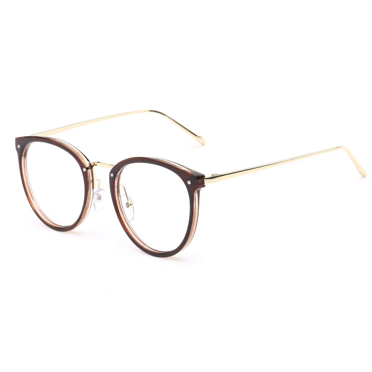f1fa7a4389a Details about AISSWZBER Vintage Round Women Eyewear Metal Optical Frame  Clear Non-prescription