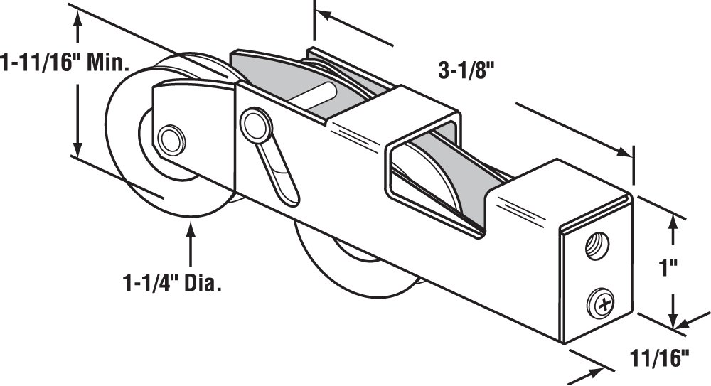 Slide-Co 132351 Adjustable Sliding Patio Door Tandem Roller Assembly, 1-1/4-Inch