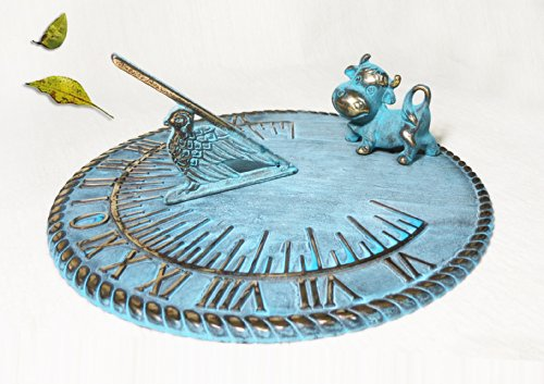 Brass Decorative Sundial 10'' Inches Wide - With a Cow by Taiwan