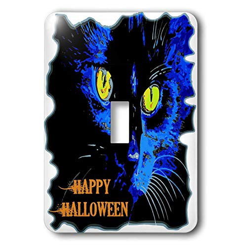 3dRose Taiche - Vector - Halloween Black Cat - Cute Happy Halloween Moonlight Black Cat Vector - Light Switch Covers - single toggle switch (lsp_299340_1)