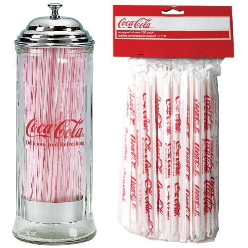 Talecraft Retro Clear Coca Cola Glass Straw Dispenser w/ Chrome Lid Plus 100 Straw Refill Pack by Tablecraft